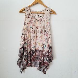 3/$20 Flint & Moss Floral Sleeveless Blouse,M